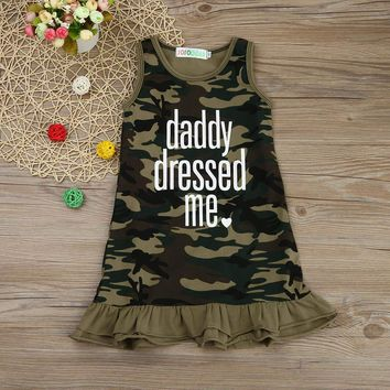 'Daddy Dressed Me' Baby Girl Camouflage Dress