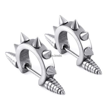 SHIPS FROM USA 2017 Punk Spike Cool Stainless Steel Hip Hop Awl Taper Mens Huggie Earring Hoop Ear Cuff Earrings