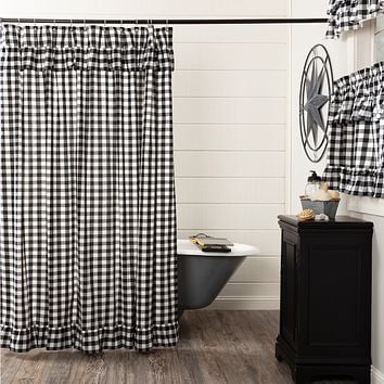 Annie Black Buffalo Check Ruffled Shower Curtain