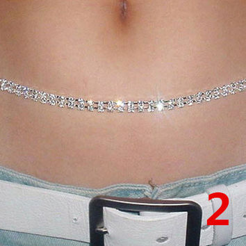 Silver Color 2Rows Crystal Sexy Women's Belly Waist Chain Body Jewelry Sparking Rhinestone Belt Body Chain Party Club Dancer