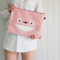 Super Cute Pink Totoro iPad sleeve / iPad case / iPad Pro cover , Cute Handbag, Totoro Case, with Zip, Handmade ipad case, Handmade totoro