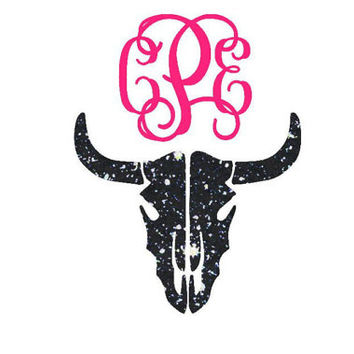 Cow Skull Decal Monogram - Boho Monogram - Skull Monogram - Antler Horn Decal - Country Decal - Monogram Yeti - Monogram Car Decal -