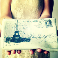 Hand Printed Eiffel Tower Postcard Inspire Purse - Made to Order - World Wide Free Shipping :)