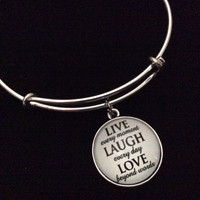 Live Laugh Love Domed Charms on a Silver Expandable Wire Bangle Bracelet Gift Adjustable Trendy Handmade in USA
