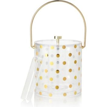 kate spade new york Raise a Glass Gold Dot Acrylic Ice Bucket With Tongs | Dillards.com