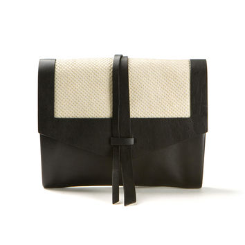 ISABEL MARANT HELMET BLACK AND OFFWHITE LEATHER BAG