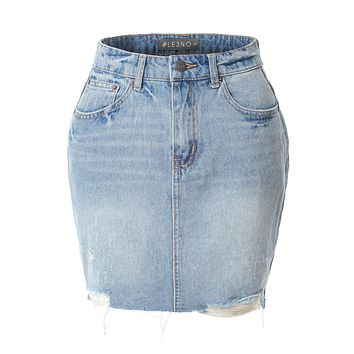 LE3NO Womens Casual Vintage Distressed Ripped Denim Mini Skirt
