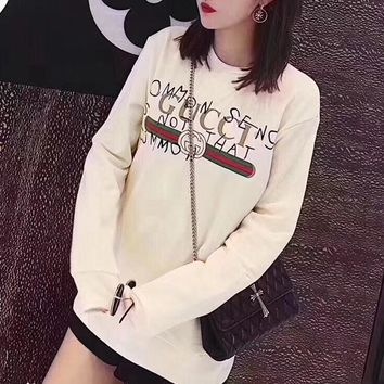 """Gucci"" Women Casual Fashion Graffiti Signature Letter Print Long Sleeve Round Neck Sweater Tops"