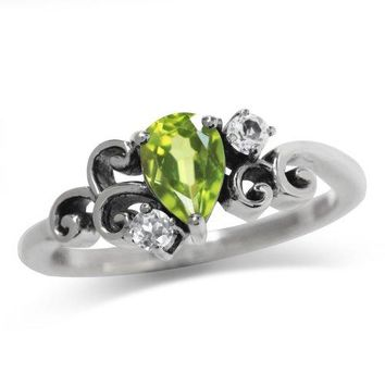 Natural Peridot amp White Topaz 925 Sterling Silver Victorian Style Ring