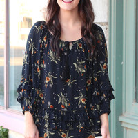 Floral Print Ruffled Peasant Blouse {Black Mix}