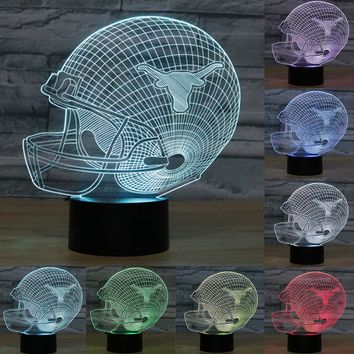 Texas Longhorns: 3D Football Helmet LED Night Light with USB Base; 7 Color Changing