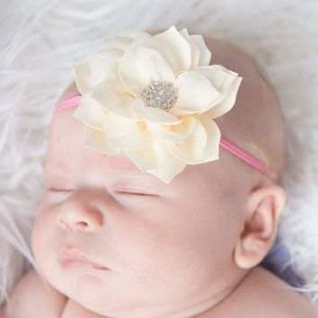 Skinny Elastic Headband with Ivory Flower