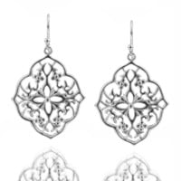 Silver Flower Filigree Earrings