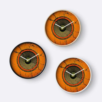 'Cracked orange music speaker' Clock by steveball