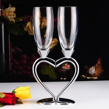 1 Set Personalized toasting wedding heart champagne glasses