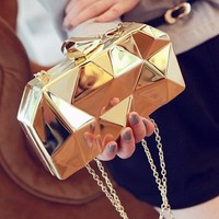 Clutches Evening Bag fashion geometric metal mini purse