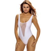 Bikini V-neck mesh hollow outback piece swimsuit