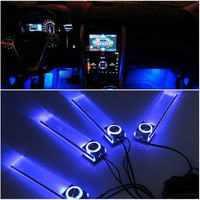 Blue Car Decorative Lights Charger LED Interior Floor Decoration Lamp 4 In 1 (Color: Blue) [7735827462]