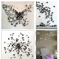 3D Butterfly Wall Sticker Decor Pop-up Sticker Home Room Decorations 12/24P