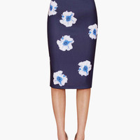 Navy Blue Floral Print High-Waisted with Low Back Slit Midi Skirt