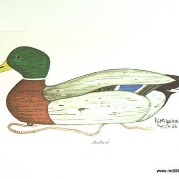 Wall Art - Two Vintage Duck Prints 1980s by CG McLaurin (signed)  1986 Mallard & Shoveler, Home decor