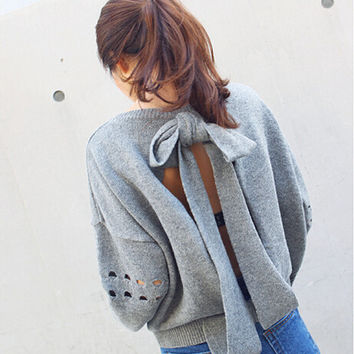 Pullover Sweater Loose Backless bowknot