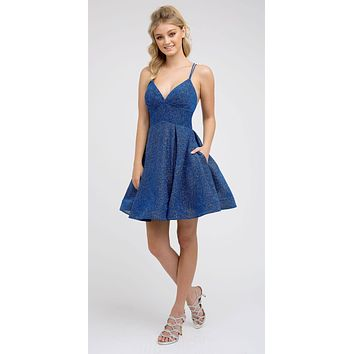 V-Neck Navy Blue Homecoming Short Dress with Pockets