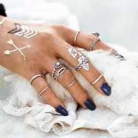17KM Vintage 10pcs/set Ring Set Punk Silver Color Infinity Rings For Women/Men Bead Finger Gold Color Bohemian Punk Midi Ring