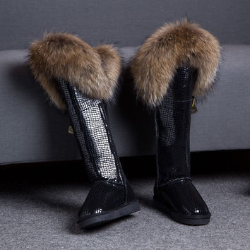 New  Winter Genuine Leather Snow Boots Natural Fox Fur Knee- High Boots Waterproof Flat Heel Long Women Fur Boots Raccoon Fur