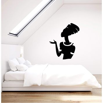 Vinyl Wall Decal African Woman Silhouette Ethnic Style Home Interior Stickers Mural (g002)