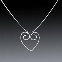 Silver Heart Necklace, Hammered Spiral Heart Necklace