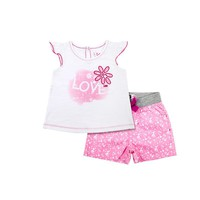 Lee ''Love'' Flower Tee & Shorts Set - Baby Girl, Size:
