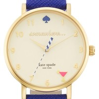 Women's kate spade new york 'metro - happy hour' leather strap watch, 34mm - Cobalt/ Gold (Nordstrom Exclusive)