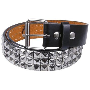 Chenier Black Splatter Silver Studded Leather Belt