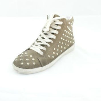 Steve Madden Twynkle Taupe Suede Lace-Up Studded Sneakers Women's 6 M