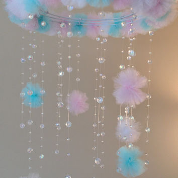 crystal baby mobile, princess baby mobile, princess decoration, tutu mobile, baby mobile, baby girl mobile, nursery decoration, baby girl