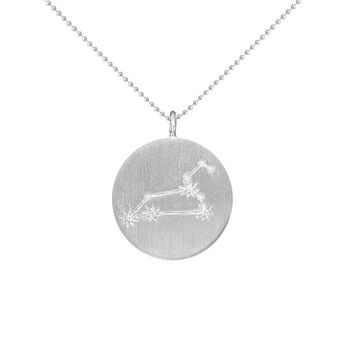 Silver Zodiac Pendant with Diamonds - Leo