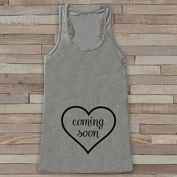 Pregnancy Announcement Tank - Simple Pregnancy Shirt - Baby Coming Soon Tank - Grey Tank Top - Pregnancy Announcement Shirt - New Mom