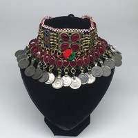 "12""x4.5"" Kuchi Choker Multi-Color Tribal Gypsy Bohemian Statement Coins,KC511"