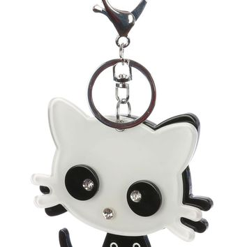 Funny Black And White Kitty Cat Key Chain