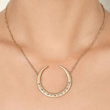 Gold Curved Pendant Delicate Necklace