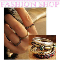 New Gothic Vintage Byzantine Jewelry Alloy Round Ring Colourful A Set of 4 Rings