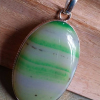 Green Lace Onyx Pendant  Sterling Silver Gemstone  Pendant Necklace Oval Pendant Onyx Artisan Pendant