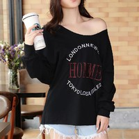 Women Fashion Casual Letter Print Long Sleeve Round Neck Backless Loose Shirt Tops