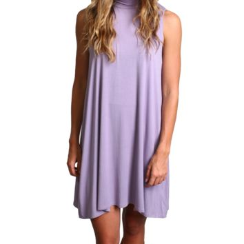 Lilac Gray Piko Mock Neck Tunic