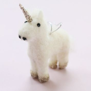 "Glittered Wool Unicorn Christmas Ornament - 5"" Tall"