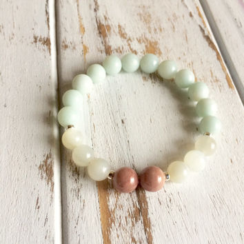 Genuine Amazonite, Grey Moonstone & Rhodonite Bracelet w/ Sterling Silver Accents ~ Good Fortune, Intuition and Self-Love