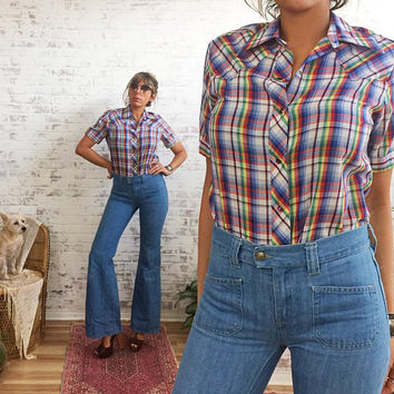 Vintage 1970's Rainbow LADY MAVERICK Ranchwear Slim Fitting Western Short Sleeved Shirt || Ladies Small 36
