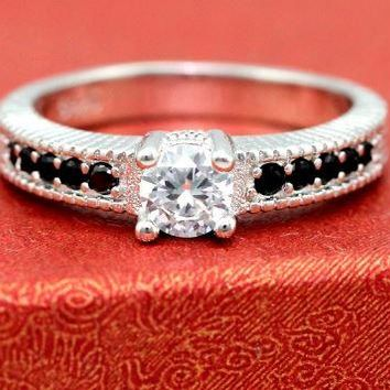 Slender Ring - Platinum Plated with Round CZ and Black Rhinestones