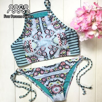 Hot BIKINI set Sexy High Neck Padded Bra Swimsuit top Slim Bottoms Print Swimwear For Women Push Up HD13 CF